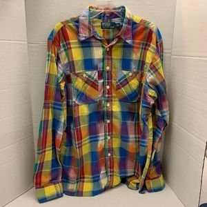 Ralph Lauren Button Check Plaid Bold Mens Shirt L